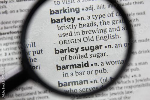 Obraz na plátně  The word or phrase barley sugar in a dictionary.