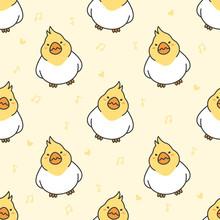 Cute Cockatiel Bird Seamless Pattern Background
