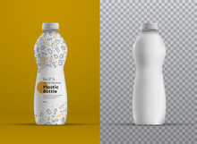 Vector Realistic Mockup Plastic Curved Bottle For Juice, Yogurt, Kefir Or Milk.