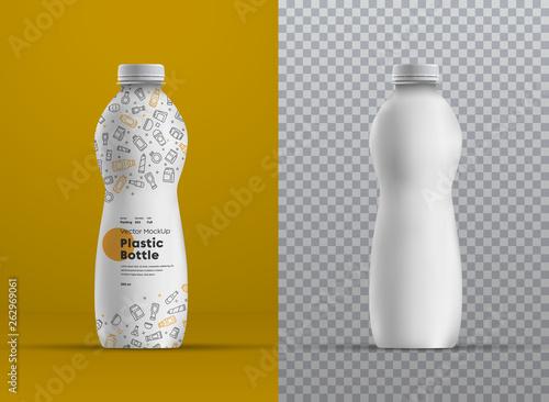 Fotografia, Obraz Vector realistic mockup plastic curved bottle for juice, yogurt, kefir or milk