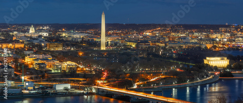 Panorama Top view scene of Washington DC down town which can see United states Capitol, washington monument, lincoln memorial and thomas jefferson memorial, history and culture for travel concept - 262973652