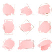 Abstract pink brush backgrounds with geometric frames rose gold color