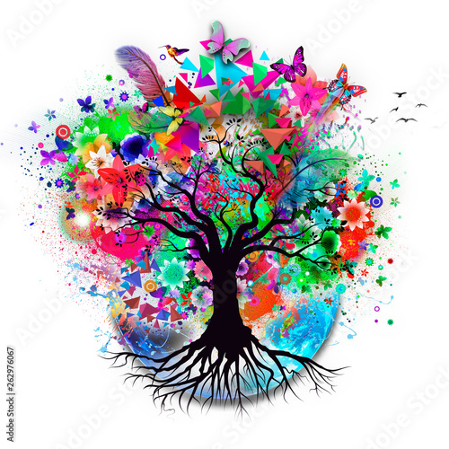 abstract multicolored tree and earth