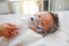 Sick Baby Boy Applying Inhale ...
