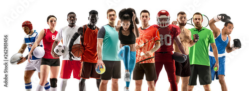 Sport collage about female athletes or players Canvas Print