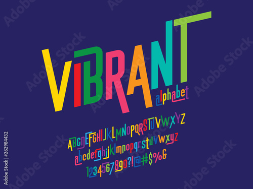 Valokuvatapetti Vector of modern colorful alphabet design
