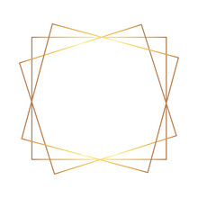 Golden Thin Triple Square Frame On The White Background