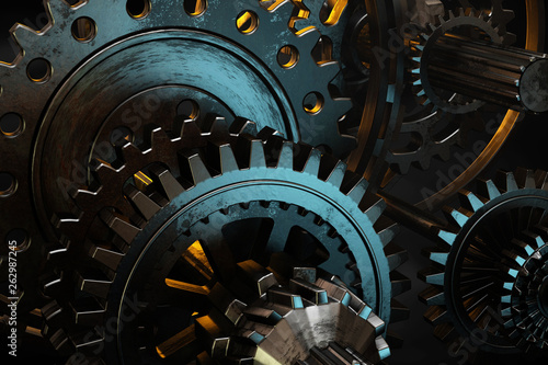 Fényképezés  Brutal steel gears of different shapes and diameters.