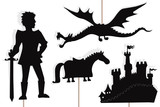 Dragon, knight, castle and horse shadow puppets, isolated.