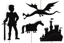 Dragon, Knight, Castle And Hor...