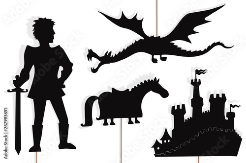 Dragon, knight, castle and horse shadow puppets, isolated. Tablou Canvas