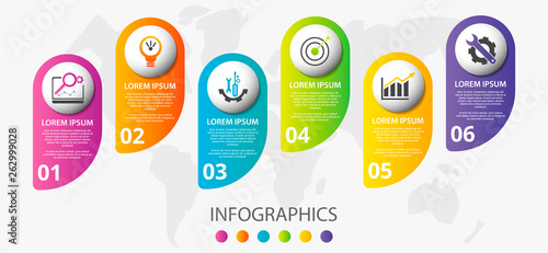 Stampa su Tela  Vector infographic 3D template for six label, diagram, graph, presentation and circles