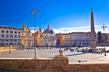 Piazza Del Popolo Or Peoples Square In Eternal City Of Rome View