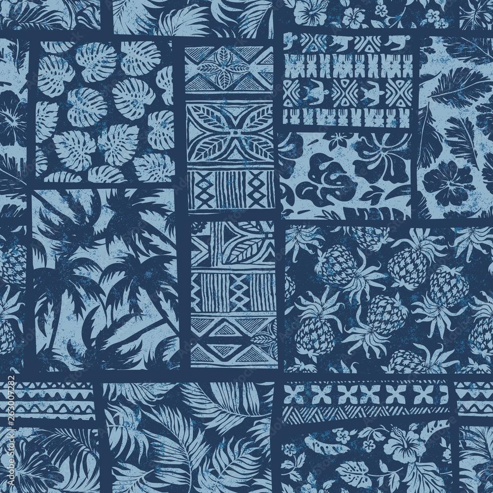 Fototapeta Hawaiian style fabric patchwork vector seamless pattern separate grunge effect