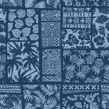 Hawaiian Style Fabric Patchwork Vector Seamless Pattern Separate Grunge Effect