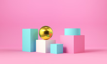 Pink And Blue Geometric Shapes With A Gold Sphere. Abstract Background. 3d Rendering.