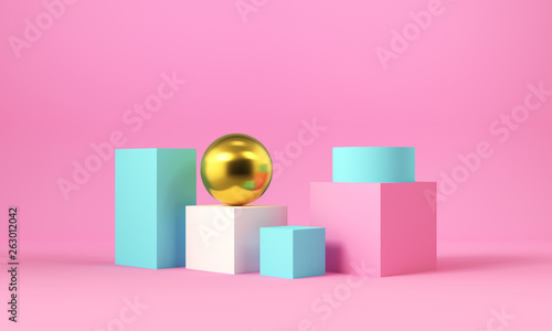 Różowe i niebieskie kształty geometryczne ze złotą kulą. Abstrakcyjne tło. Renderowania 3d.
