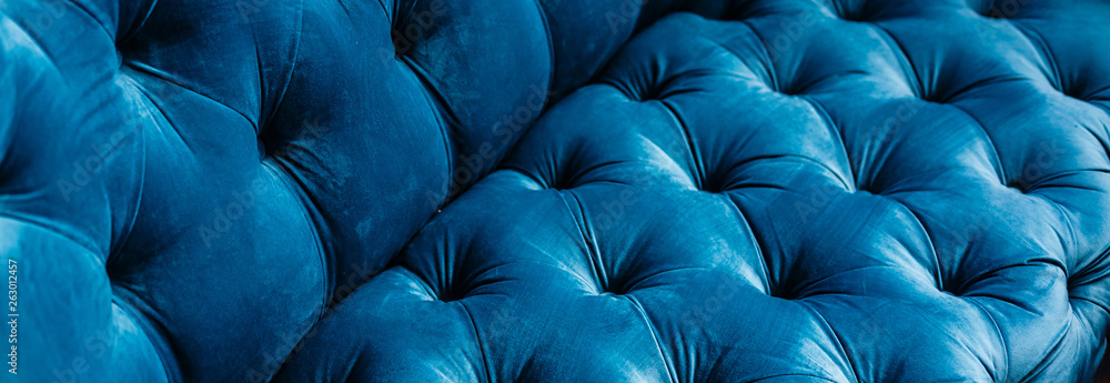 Fototapety, obrazy: Velvet couch background texture with sunken buttons