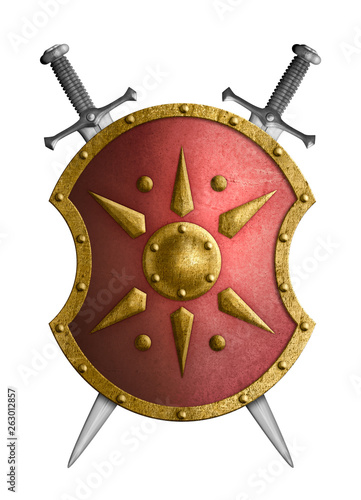 metal red shield with golden star and crossed swords isolated 3d illustration Fotobehang