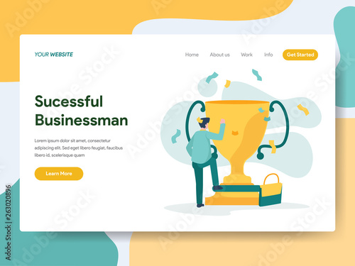Photo  Landing page template of Successful Businessman Illustration Concept
