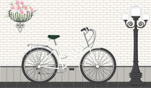 White Women's Bicycle - Brick Wall, Hanging Basket With Flowers, Street Lamp - Flat Style - Vector