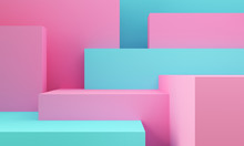 Geometric Pink And Blue Shape Abstract Background. 3d Rendering.