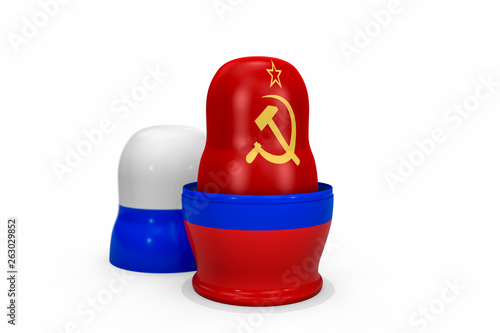 Photo  3d illustration: matryoshka with the flag of the USSR in an open nesting doll of Russian Federation, isolated on white background
