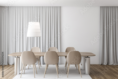 Gray curtain dining room, beige chairs