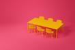 Leinwanddruck Bild - Yellow dining room furniture set on red