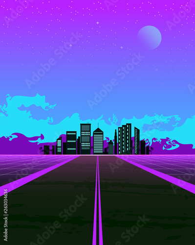 Papel de parede  Synthwave illustration with dream road and city on the horizon
