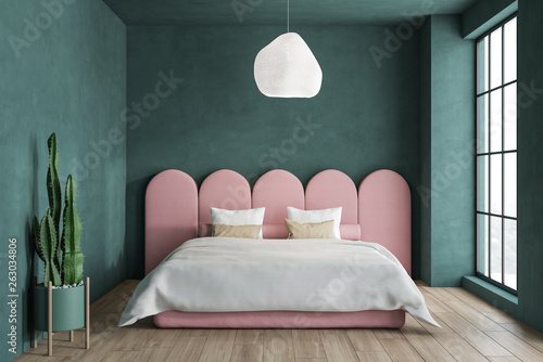 Minimalistic green and pink bedroom - Buy this stock ...