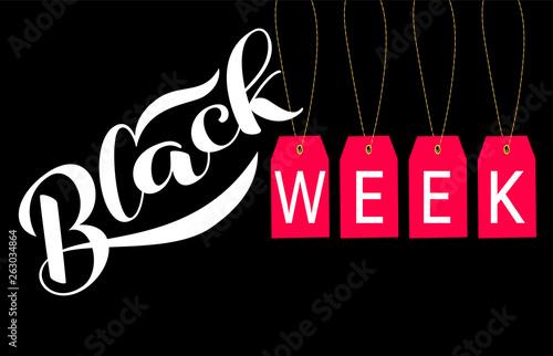 Obraz Red label with Black week  lettering. Vector illustration.  - fototapety do salonu