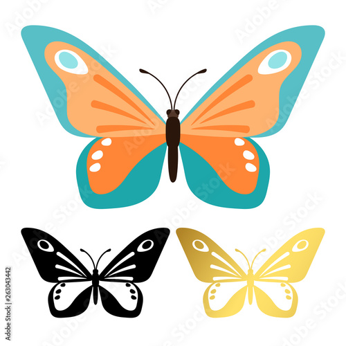 Fototapeta  Vector icons of butterflies isolated on white background