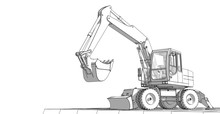Excavator 3d Illustration