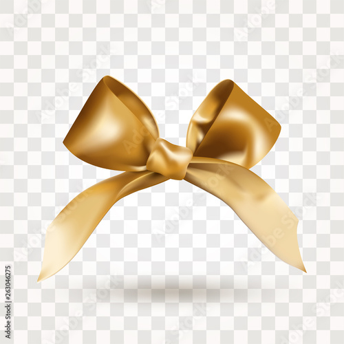 Fotografie, Obraz Golden elegant satin bow with knot isolated on transparent background