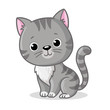 Gray kitten sitting on a white background. Cute pet in cartoon style.