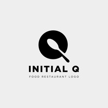 Initial Q Food Equipment Simple Logo Template Vector Icon Abstract