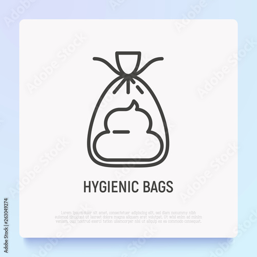 Fotografía  Hygienic bag for dogs thin line icon
