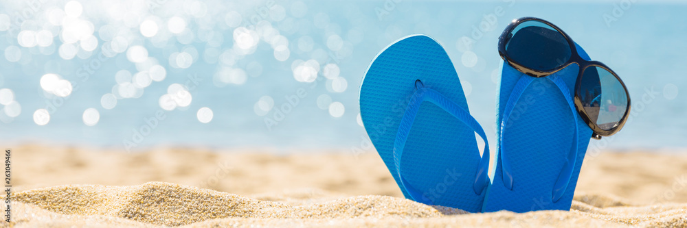 Fototapety, obrazy: flip flops with sun glasses on the sandy tropical beach