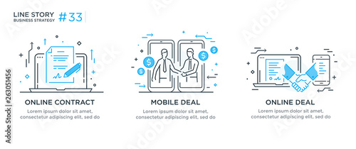 Set of illustrations concept with businessmen Wallpaper Mural
