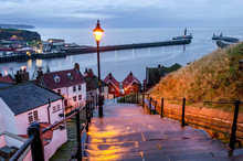 A View Of The Famous Whitby Harbour From The 199 Steps On The East Cliffs Leading To Whitby Abbey.