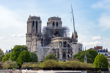 Paris, France - April 17, 2019: Notre Dame De Paris, The Day After. Reinforcement Work In Progress After The Fire, To Prevent The Cathedral From Collapsing.