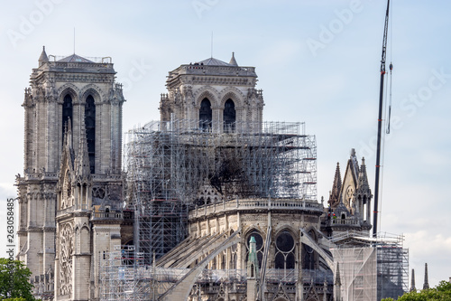 Paris, France - April 17, 2019: Notre Dame de Paris, the day after Fotobehang