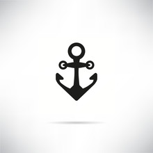 Anchor Icon In White Gray Back...
