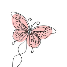 Simple Butterfly. Continuous Line Drawing. Vector Illustration Minimalist Design.
