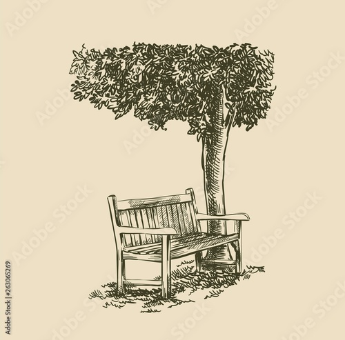 Fotografia vintage picture of a bench under a tree