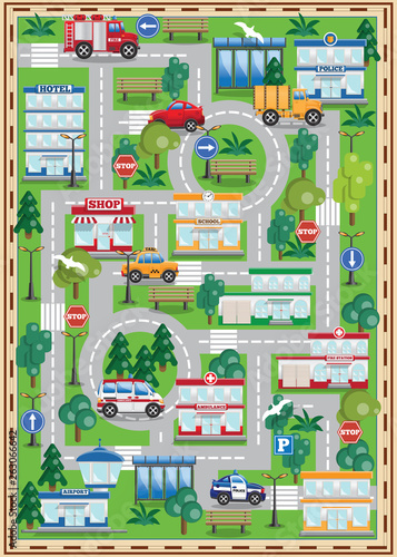 Fototapeta mapa świata dla dzieci  miasto-tlo-widok-z-boku-ilustracja-wektorowa