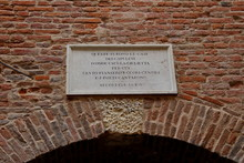 Verona, Marble Slab Indicating The Entrance To The Capulet House, Juliet's Family