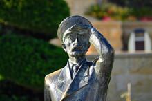Iron Statue Of Sea Captain Close Up In Baku