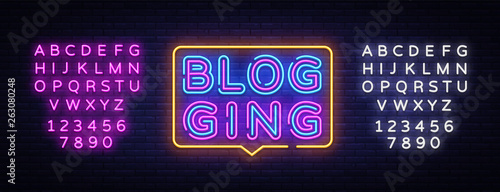 Blog Neon Text Vector Canvas-taulu